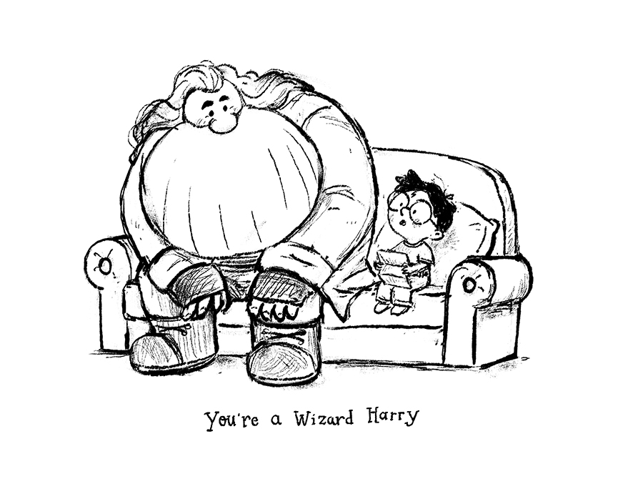 Hagrid and Harry Potter sketch by Chris Chatterton