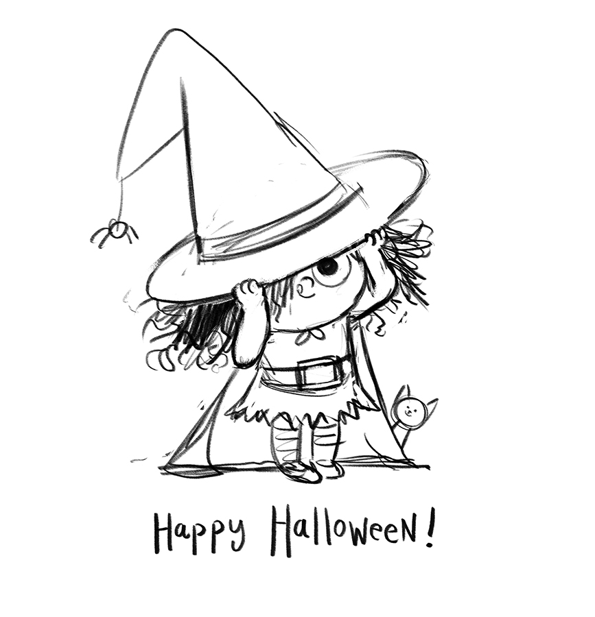 Happy Halloween Witch sketch by Chris Chatterton