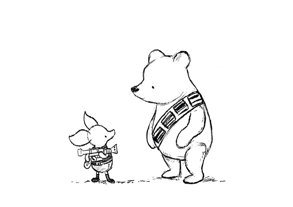 Star Wars Winnie the Pooh sketch by Chris Chatterton