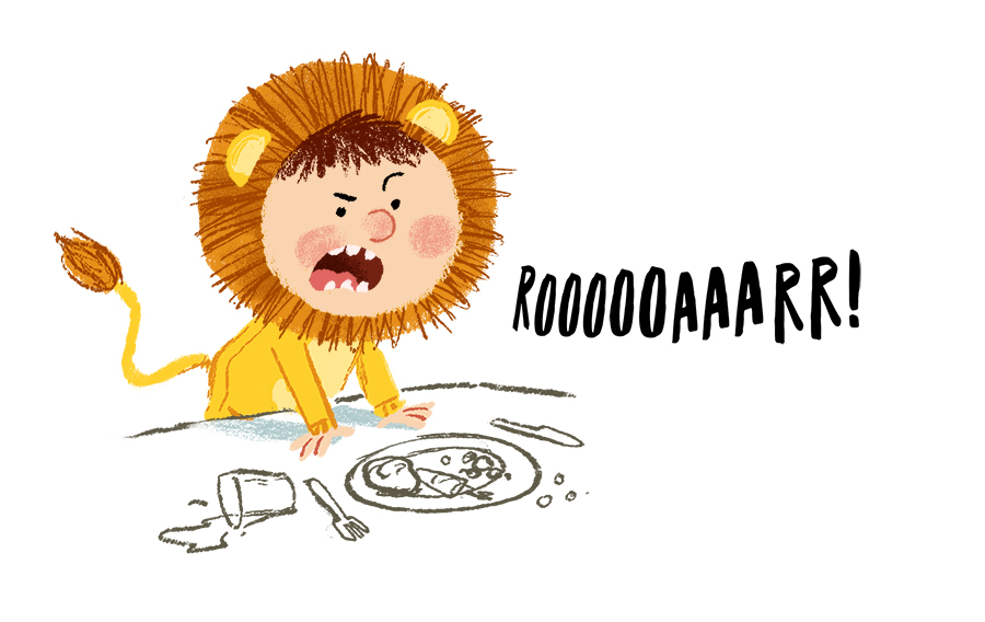 Boy dressed as Lion roaring at dinner table illustration by Chris Chatterton