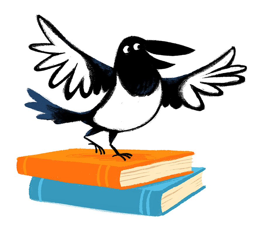 Magpie standing on books illustration by Chris Chatterton