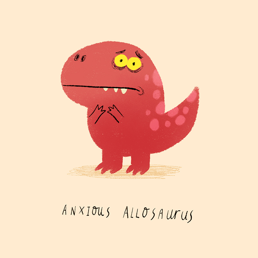 Anxious Allosaurs illustration by Chris Chatterton