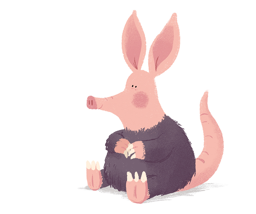 Aardvark sitting illustration by Chris Chatterton