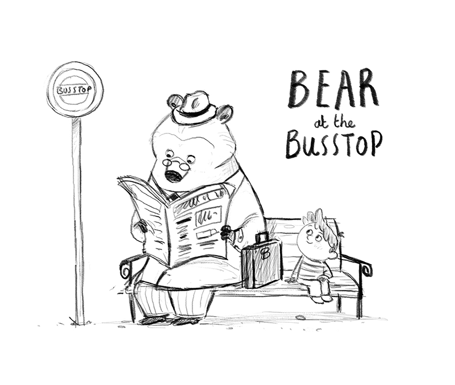 Bear at the Bus Stop sketch by Chris Chatterton