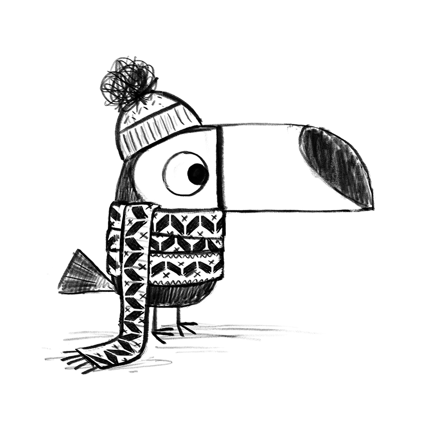 Toucan in hat and scarf sketch by Chris Chatterton