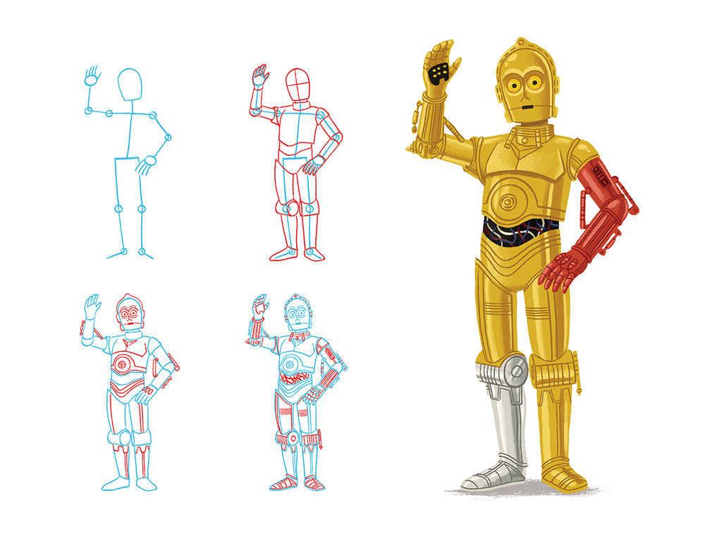 How to draw C3P0 from Star Wars by Chris Chatterton