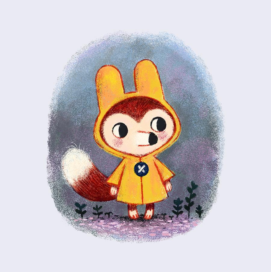 Fox in Rain Coat illustration by Chris Chatterton