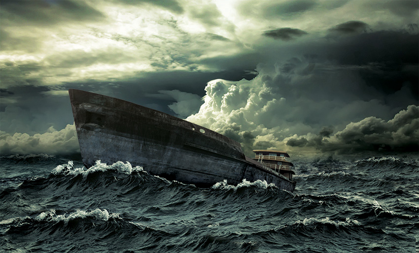Stormy ship retouching by the Artful Union. The goal was to create a world of heavy seas with a ship crashing through. In Photoshop, we transformed the ship on dry land to a night in a perfect storm.