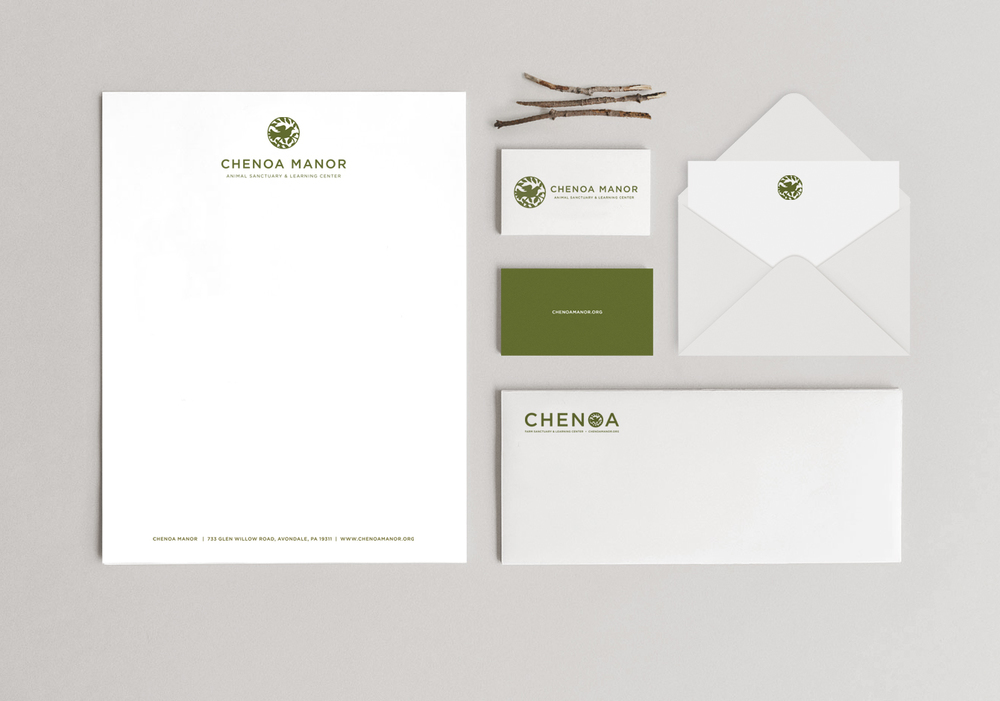 The Artful Union worked with Chenoa Manor, a non-profit animal sanctuary to create an impactful brand and clean, modern stationery.