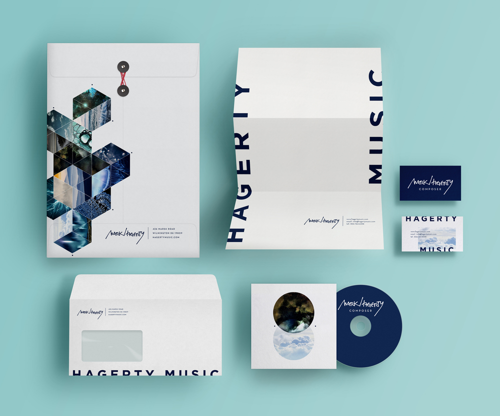 Delaware composer Mark Haggerty commissioned The Artful Union to develop a new, modern and artistic brand identity, one that complemented his complex musical style.