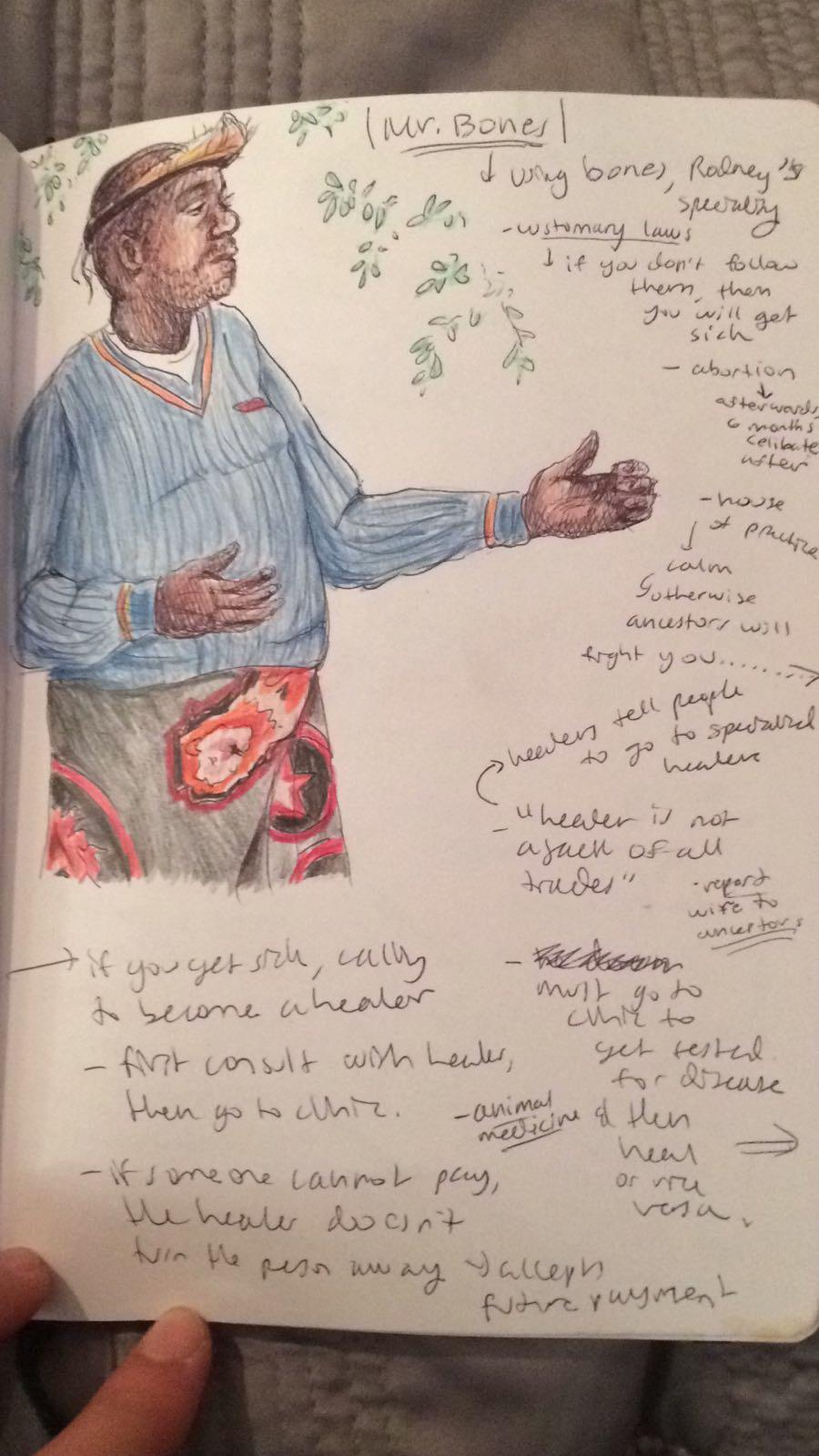 South Africa - artwork -Ysemay Dercon traditional healer sketchbook S. Africa.JPG