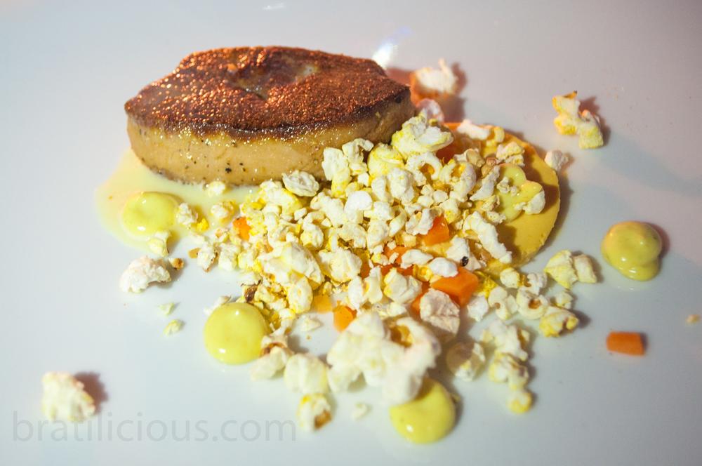 Foie gras s kukuricou, vaječným koňakom a Ras El Hanout
