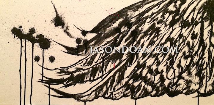 "Take  - Acrylic Ink on Canvas - 24"" x 12"""