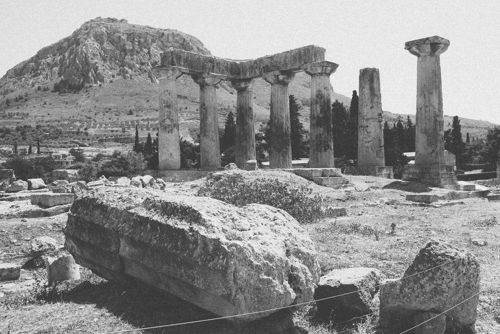 Photo 15. The Temple of Apollo ruins at the ancient Greek city of Corinth.  Corinth, Greece, 2014.