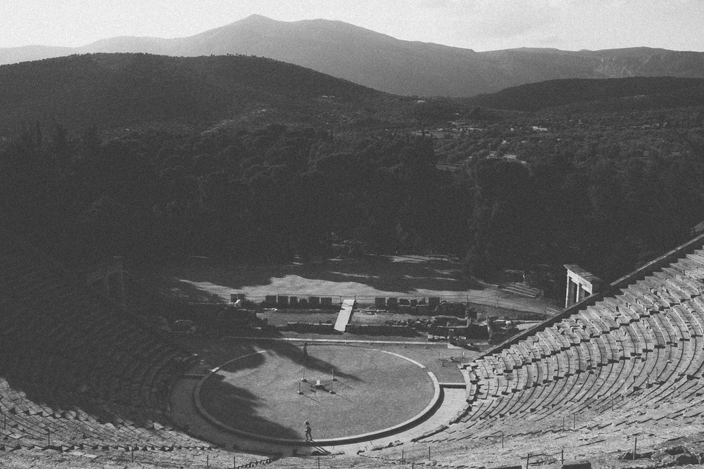Photo 17.  Ruins of a large theatre within the ancient greek sanctuary of Asclepius - god of medicine.  Epidaurus, Greece, 2014.