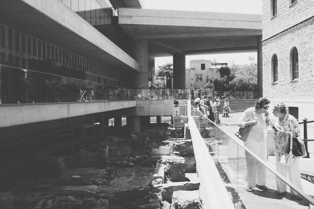 Photo 83.  The modern Acropolis Museum is built to display ancient ruins at its foundation.  Athens and Greece has invested heavily into archaeology and wishes to be the trustee for posterity.  Athens, Greece, 2014.