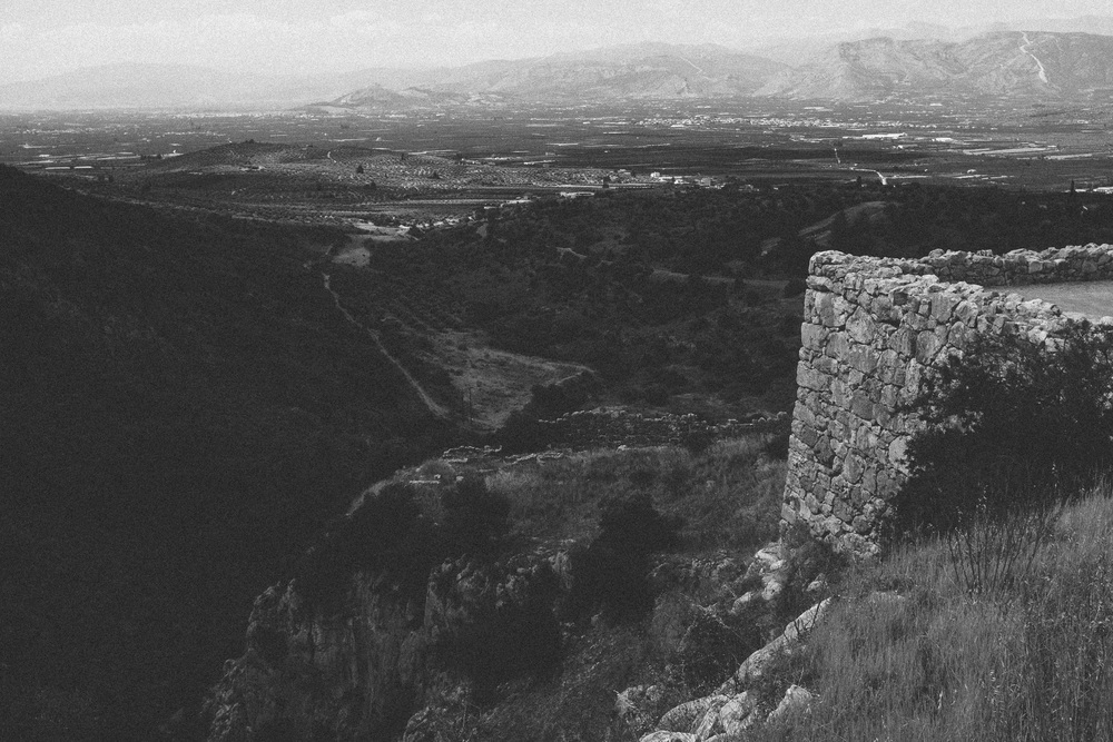 Photo 2. The King's view of the Argolic gulf from the palatial grounds.  Mycenae, Greece, 2014.