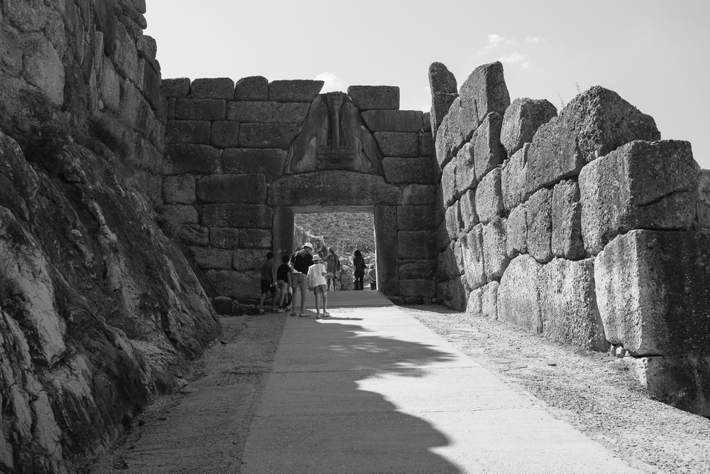 Photo 3.  The famed Lion's Gate framed by cyclopedian walls.  Mycenae, Greece, 2014.