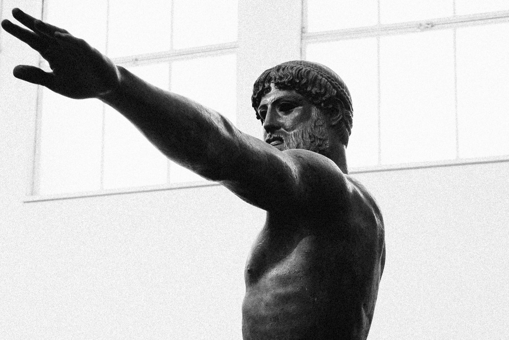 Photo 39. The A rtemision bronze  statue depicting either Olympian God Zeus or Poseidon.  National Archaeological Museum, Athens, 2014.