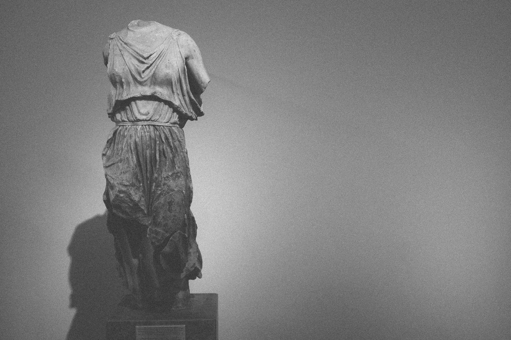 Photo 40.  A statue of the goddess Nike - wings lost to time.  National Archaeolocial Museum, Greece, 2014.