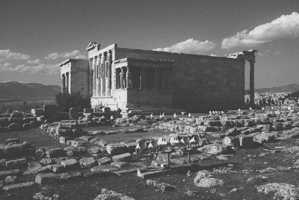 Photo 38. The Erechtheion built during the classical period on top of Acropolis - dedicated to Athena and Poseidon.   Athens, Greece, 2014.