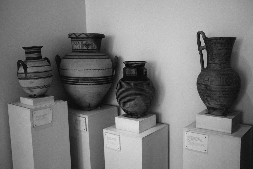 Photo 53. Early geometric period pottery is characterized by the simple and pleasing linear design.  National Archaeological Museum, Greece, 2014.