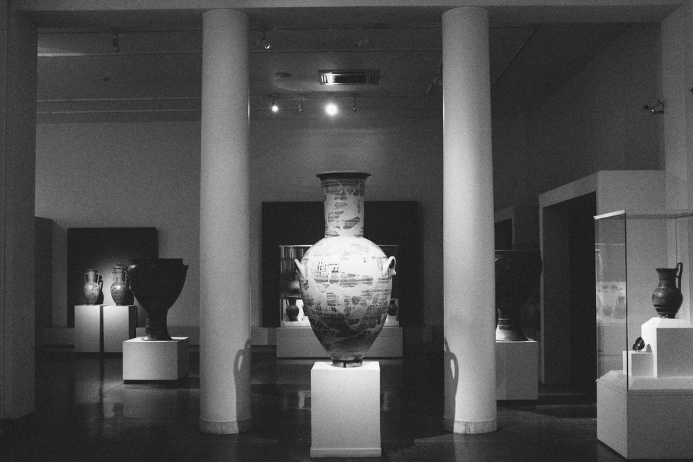 Photo 54.  Large amphora vase.  Many pottery artifacts such as this one were dedications to the Gods, and for funeral purposes.  National Archaeological Museum, Greece, 2014.