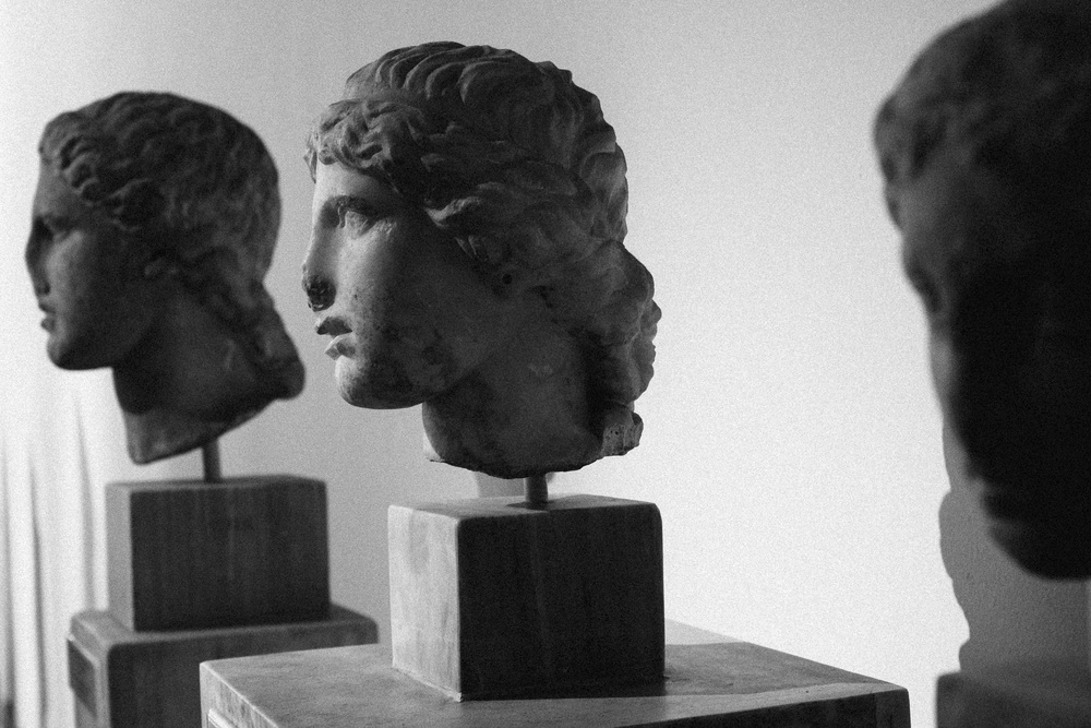 Photo 73.  Marble bust of three females.   National Archaeological Museum, Greece, 2014.