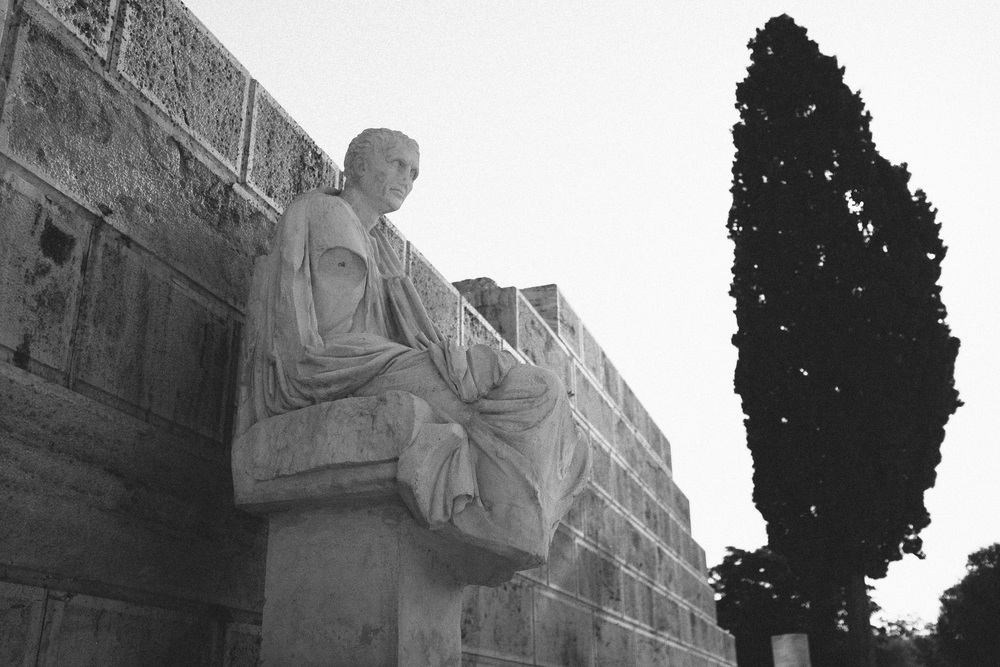 Photo 79.  Statue of a Greek tragedian in front of the ancient theatre of Dionysus.   Athens, Greece, 2014.