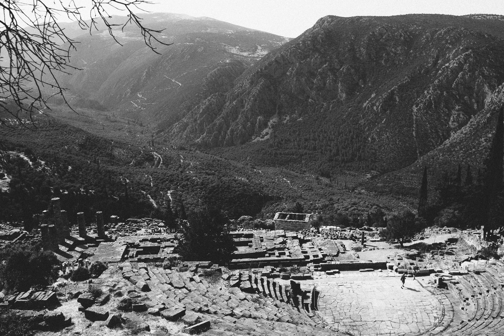 Photo 20. Ancient Greek Sanctuary that exerted major influence over the fate of Greece through a Priestess that uttered Oracles - thought to be be advice from the God Apollo.  Delphi, Greece, 2014.