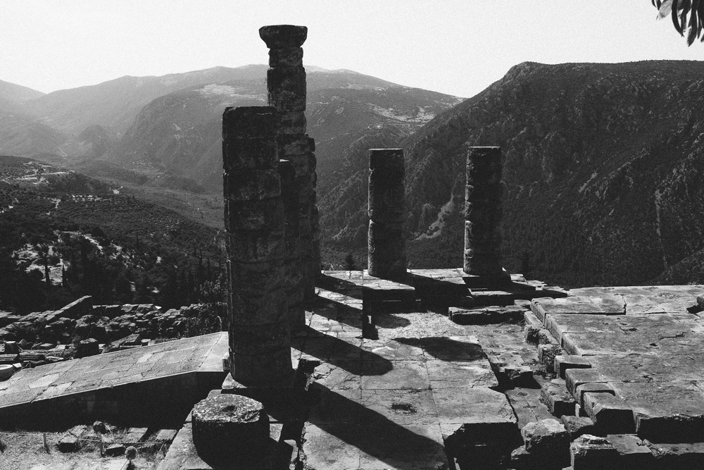 Photo 21.  The Delphi Temple of Apollo ruins in the mountains of Greece.   Delphi, Greece, 2014.