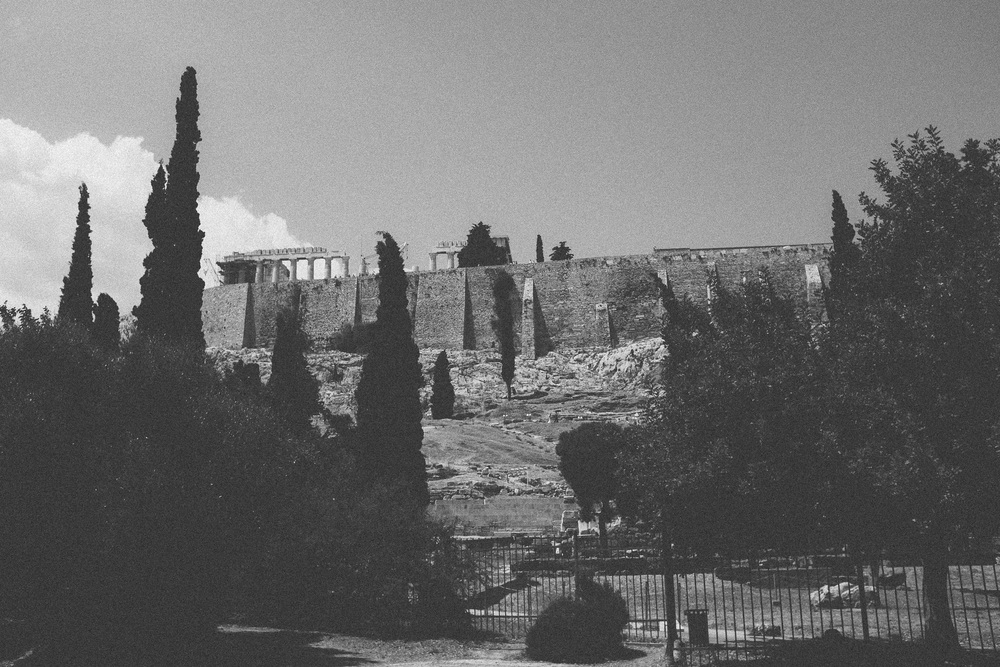 Photo 11. View of the south side of the Acropolis showing the top of the Parthenon.  Athens, Greece, 2014.