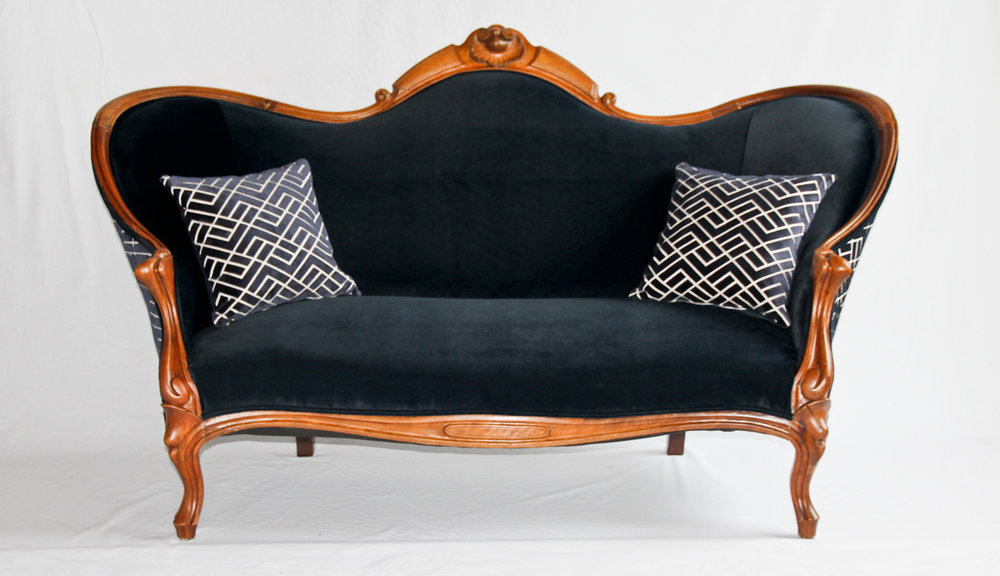 Antique Victorian Sofa with Herman Miller blue velvet .jpg