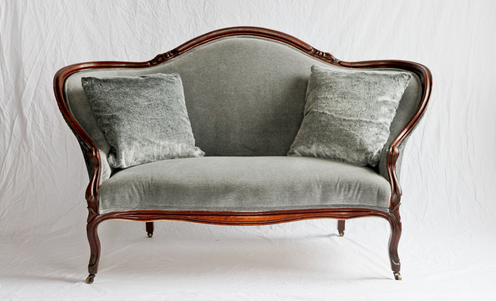 Grey velvet settee with cut velvet back.jpg
