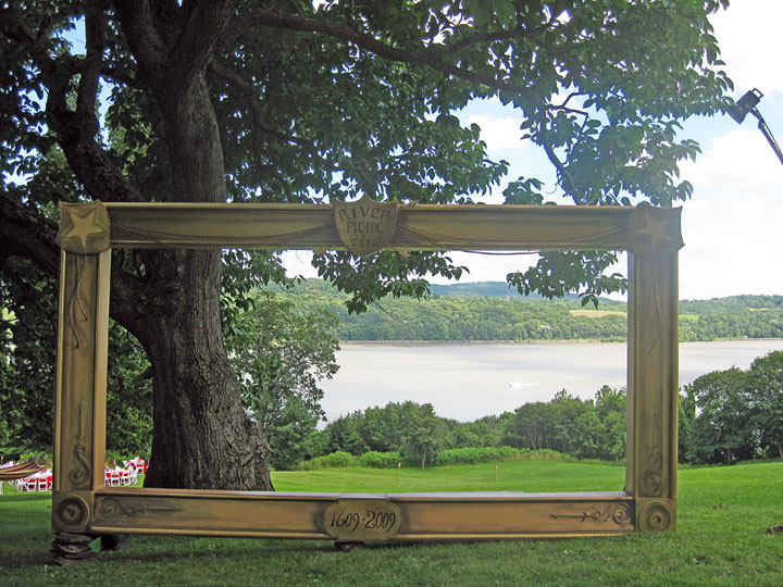 Giant photo-op picture frame for a Thomas Cole Historic Site benefit, framing an actual Hudson River landscape behind.