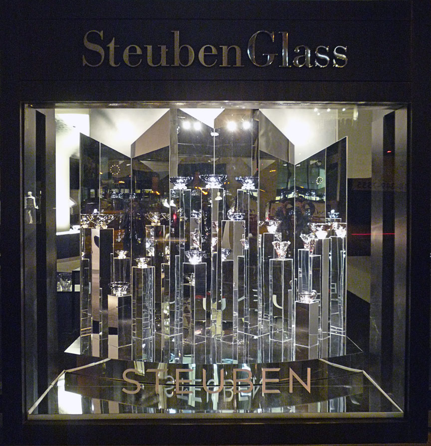 angular mirrored window display designed and installed for Steuben Glass.