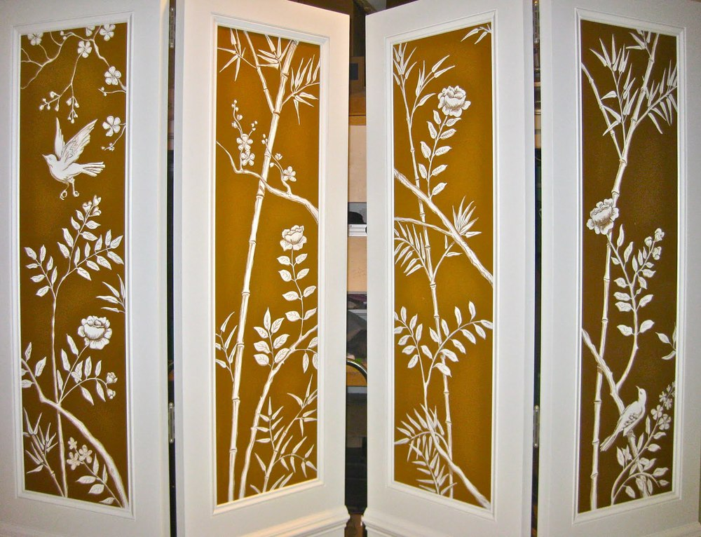 Hand painted folding screens produced for Chanel.