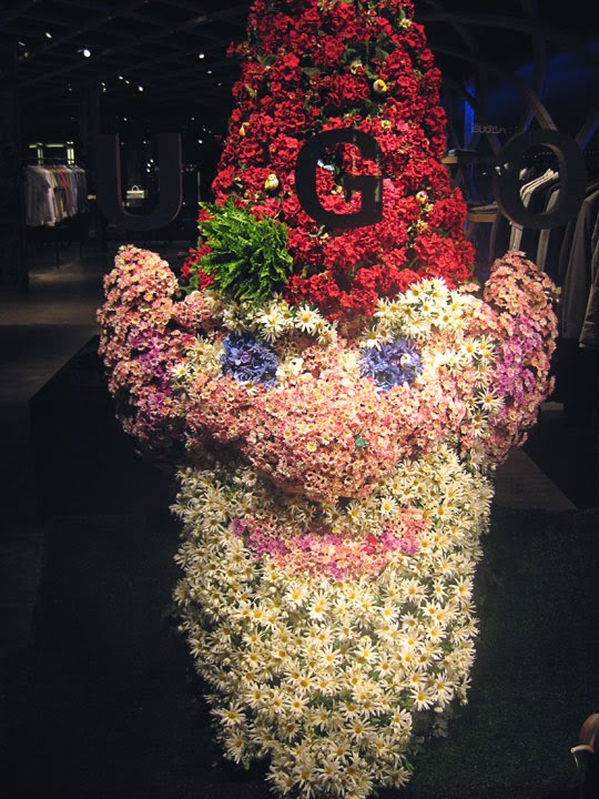 Giant floral Gnome's head designed and produced for Hugo Boss.