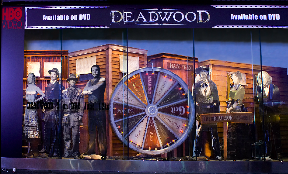 """Deadwood"" themed window display produced and installed for HBO."