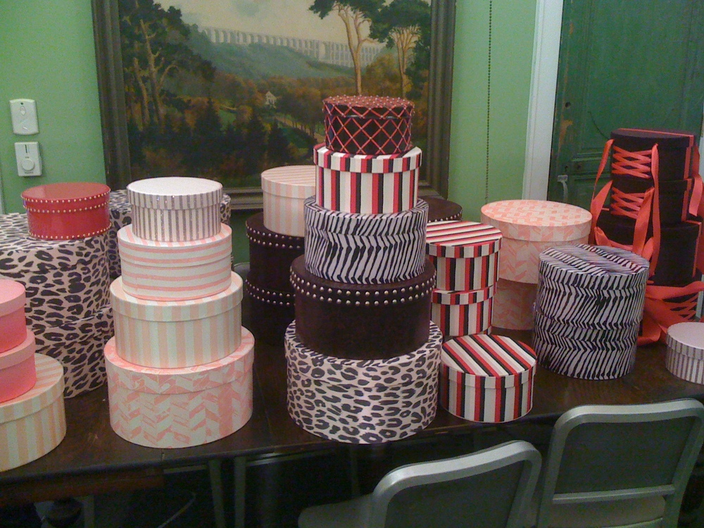 Hundreds of hand-made hat boxes for Victoria's Secret stores worldwide.