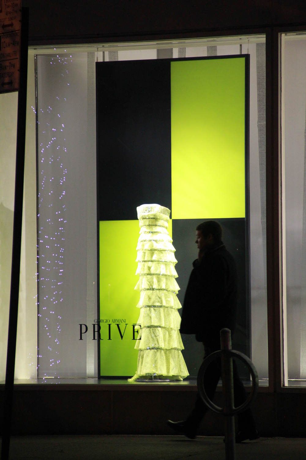 backlit window displays produced and installed for Giorgio Armani.