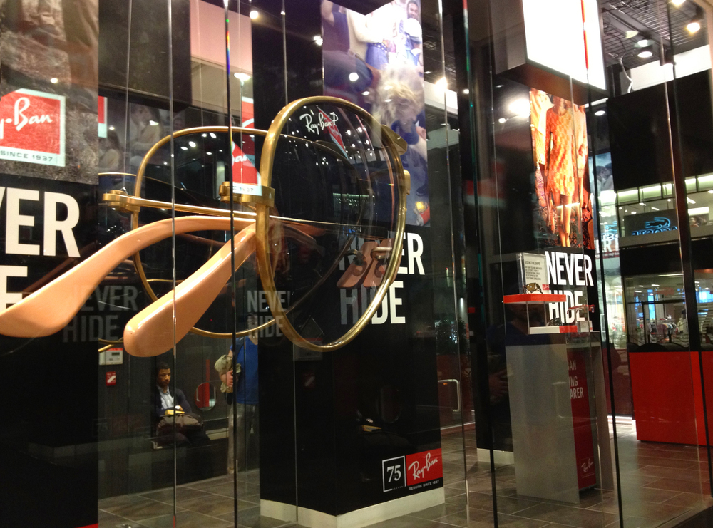 Giant folding Ray Ban sunglasses produced for Sunglass Hut.
