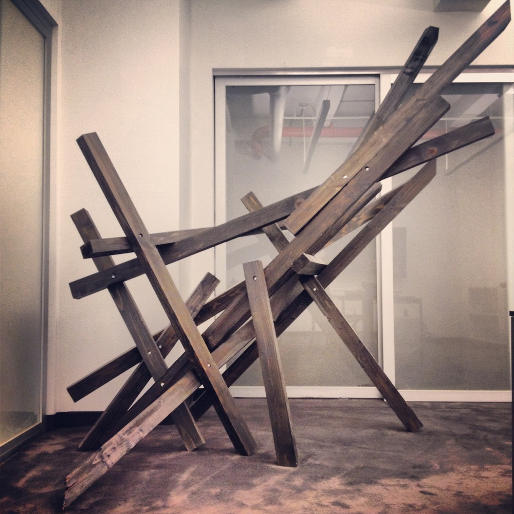 Wooden sculpture designed by Geoff Howell for Hugo Boss Clubroom.