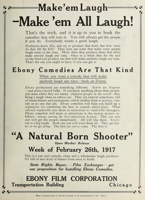 Ebony Comedies tradepaper ad