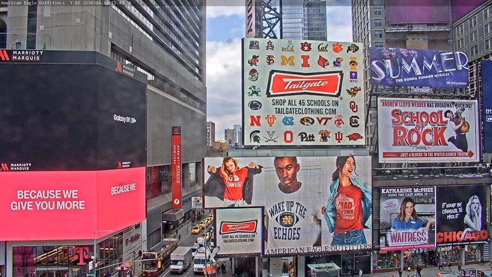 Graphics featured in Times Square