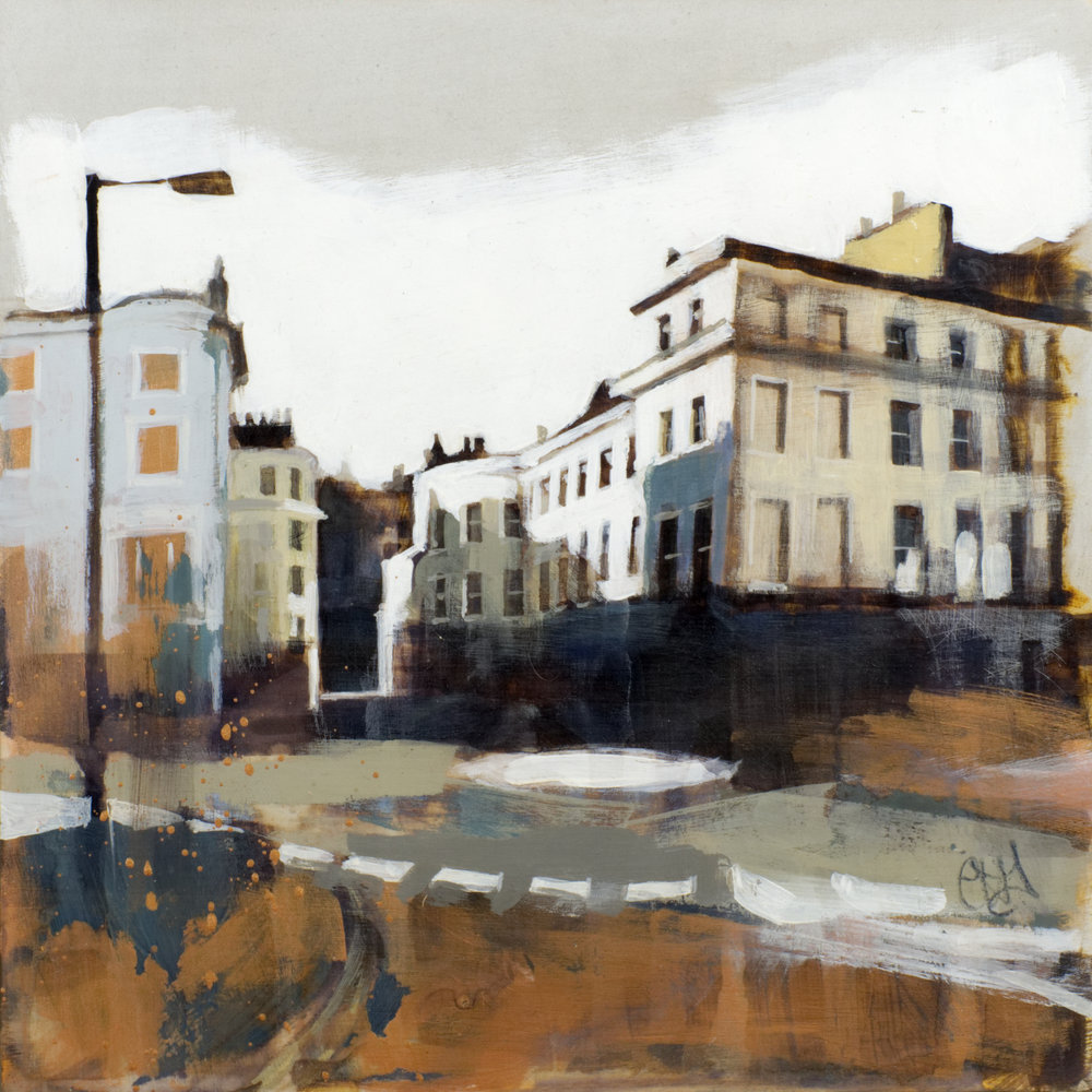 Sussex Place, W2 (study), acrylic on gesso, 31 x 31 x 3.5 cm  SOLD
