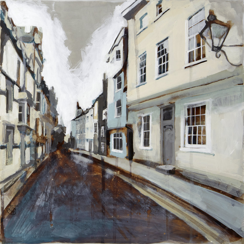 Ship Street, Oxford. Acrylic on gesso (30 x 30 cm) SOLD