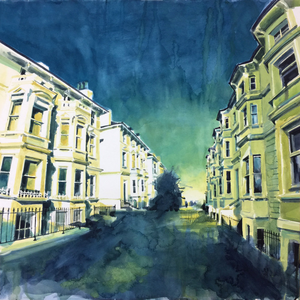 Tall Townhouses. Water colour on paper (66 x 66 cm)