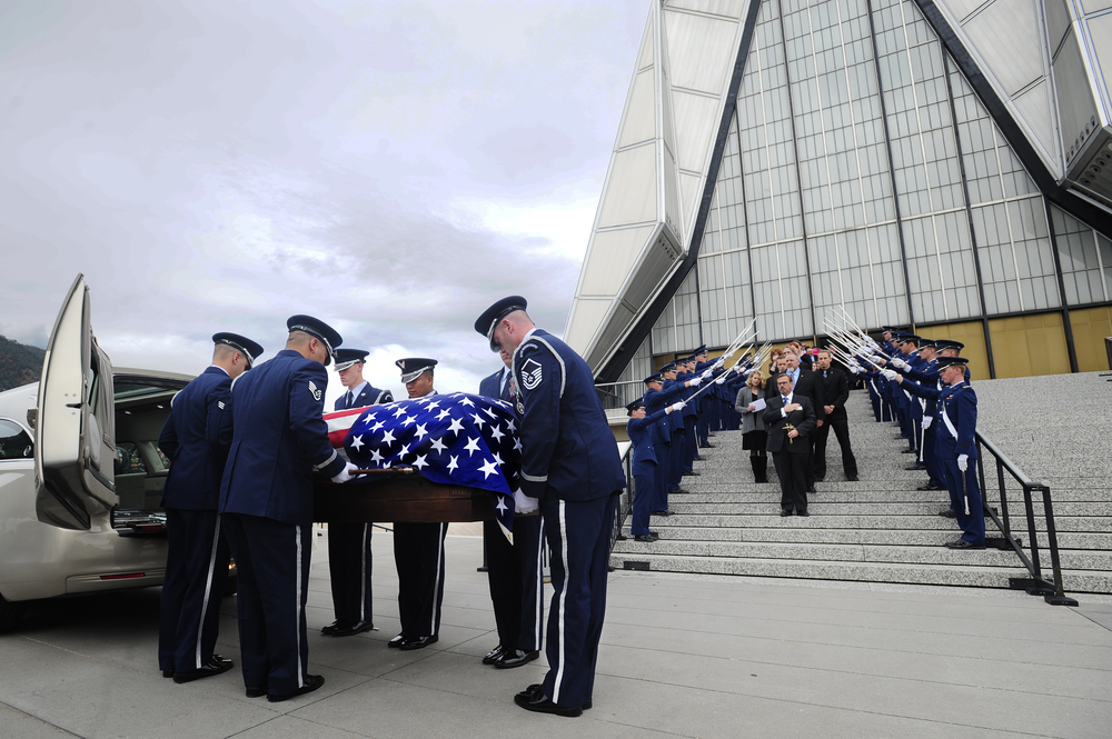 Funeral services for U.S. Air Force officer, Major Phyllis Pelky, 45, are held at the Air Force Academy's Cadet Protestant Chapel in Colorado Springs, Colorado on Monday, October 26, 2015. The former aide-de-camp to the Air Force Academy's Superintendent, Major Pelky died in a non-hostile helicopter crash on October 11, 2015 while deployed in Afghanistan in support of the Nato-led Operation Freedom's Sentinel.