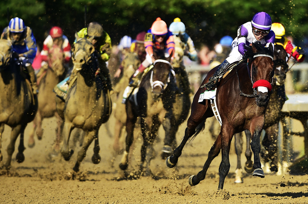 Nyquist #13 (purple cap), ridden by Mario Gutierrez, forges to the front en route to winning the Kentucky Derby on May 7, 2016 in Louisville, Kentucky.